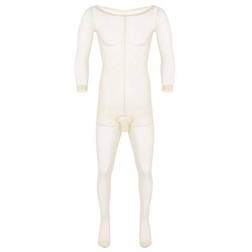 Agoky Herren Ganzkörperanzug transparente Overall Jumpsuit Skinny Unterwäsche Stretchy Stocking mit...