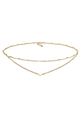 Elli Halskette Damen Choker Layer Look Kugelkette Herz Trend in 925 Sterling Silber
