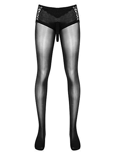 TiaoBug Herren Strumpfhose mit Penishülle Pantyhose Männer Reizwäsche Transparent lange Unterhosen Skinny...