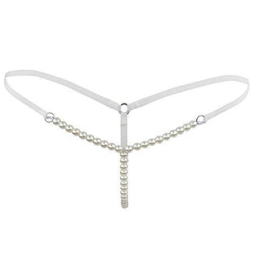 CHICTRY Damen Slip String Tanga Perlenstring Micro String Ouvertslip Höschen Unterhose mit Ketten (Weiß, One...