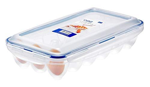 Lock & Lock Egg Multifunktionsbox Transportbox für 18 Eier, Transparent/Blau