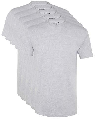 Ultrasport Herren Sport Freizeit T-Shirt mit Rundhalsausschnitt 5er Set, Grau Melange, L