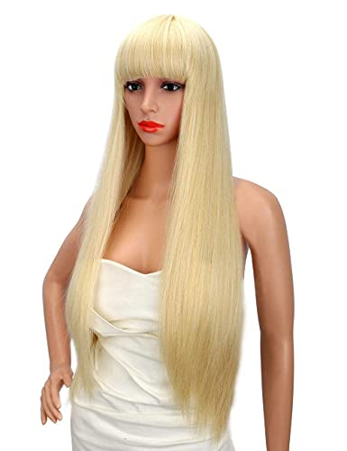 Kalyss 26 Zoll weibliche lange gerade hochwertige synthetische blonde volle Haar Perücke mit Pony