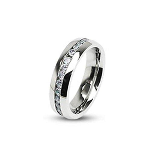 Paula & Fritz® Ring aus Edelstahl Chirurgenstahl 316L 6 mm breit Band besetzt