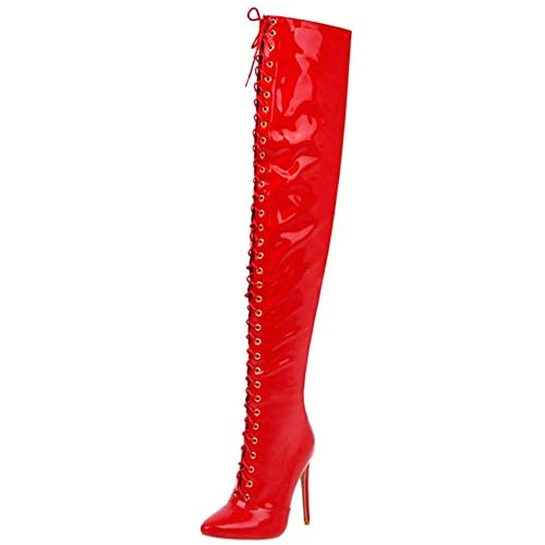 Lydee Damen Mode OverKniestiefel Stiletto Abend Party Lange Stiefel Pointed Toe Thight High Stiefel Red Gr 47