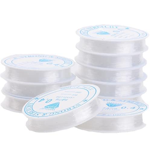 BOSSTER Elastische Schnur 10 rollen Transparent Perlen Faden 0.4mm 10m für Perlenschmuck Armbänder Kind...