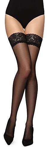 Merry Style Damen halterlose Strümpfe MS 209 (Schwarz, M-L (40-44))