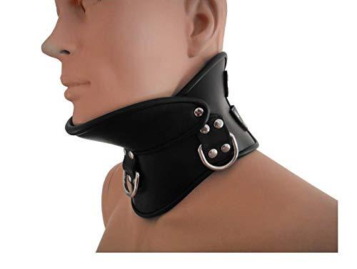 Leder Bondage Hals Korsett Nacken Korsett mit 3 Ringe schwarz Halsband Halsfessel Halskorsett Nackenkorsett