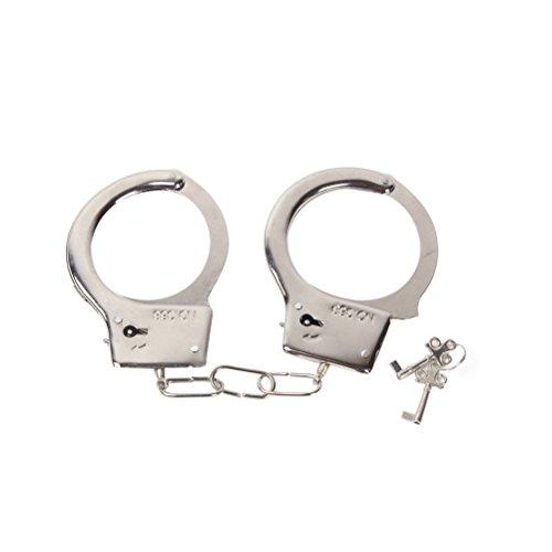 LUOEM Kinder spielen Spielzeug Metall Handschellen mit Schlüssel für Polizei Rollenspiele Kostüm Zubehör...