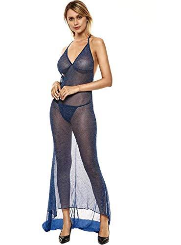 Promworld Lingerie Dessous Frauen Mesh Sexy,G-String Bikini Cover up,Lang Geschnittener Nachthemdanzug mit...