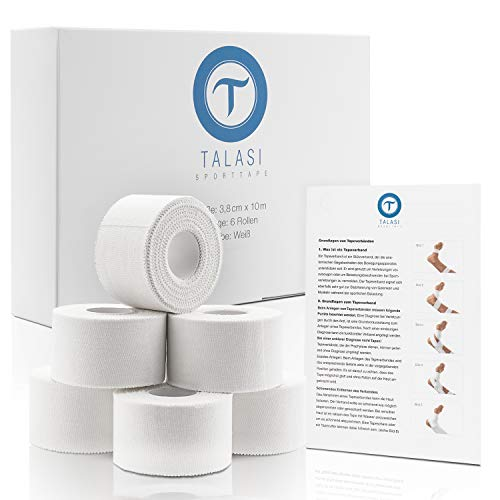 TALASI® Sporttape Set Weiß - 6 Rollen [ 3,8cm x 10m ] Athletic Tape inkl. Flyer