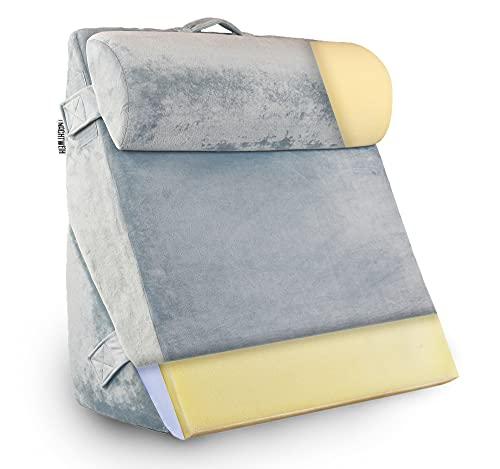 NACHTWEIH NEU Rückenkissen für Bett/Sofa, Lesekissen [Memory Foam Oberseite]. Als Keilkissen mit flauschigem...