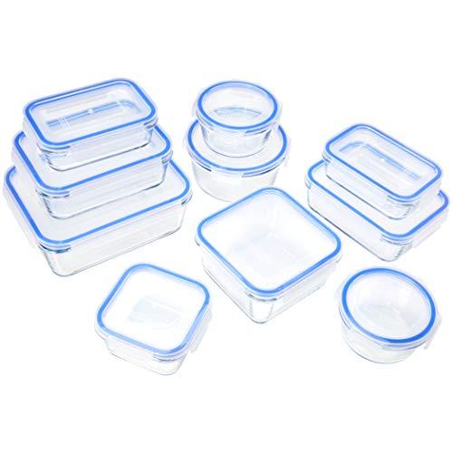 Amazon Basics - Glasbehälter für Lebensmittel, mit Deckel, 20 -teiliges Set(10 Behälter + 10 Deckel),...