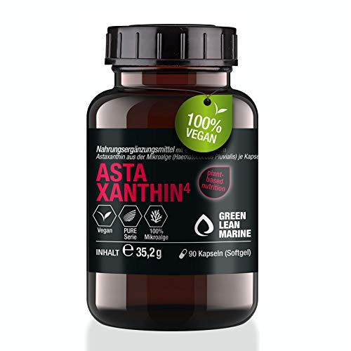 GREEN LEAN MARINE® Astaxanthin hochdosiert   90 Astaxanthin Kapseln   Astaxanthin 4mg   Antioxidant...