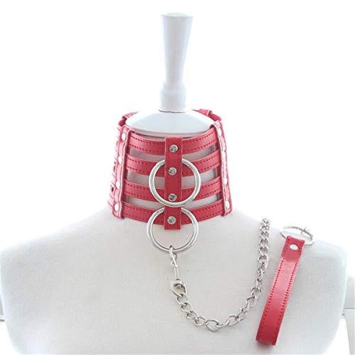 Rotes Leder Fetisch Halsband Einstellbar SM Bondage Halsbänder,abschließbar Halskorsett mit zwei O-Ring und...