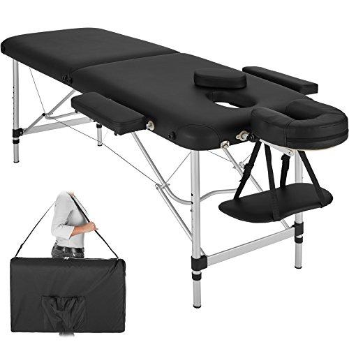 TecTake Mobile Aluminium Massageliege 2 Zonen höhenverstellbar klappbar inkl. hochwertiger Alu-Kopfstütze +...