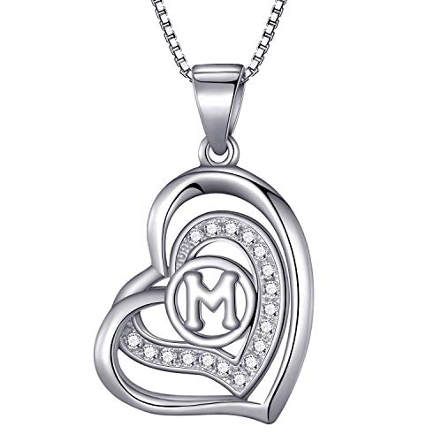Morella® Damen Halskette Herz Buchstabe M 925 Silber rhodiniert mit Zirkoniasteinen weiß 46 cm