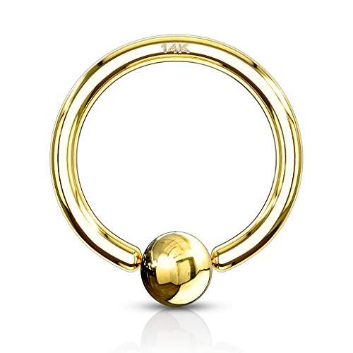 Paula & Fritz® Brustwarzen-Piercing Captive Bead Ring Klemm-Kugel Echt-Gold 14 Karat Gelb-Gold Weiß-Gold...
