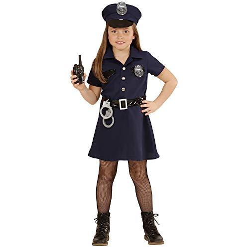 Widmann - Kinderkostüm Polizistin, Kleid, Gürtel, Hut, Handschellen, Walkie-Talkie, Uniform, Beruf