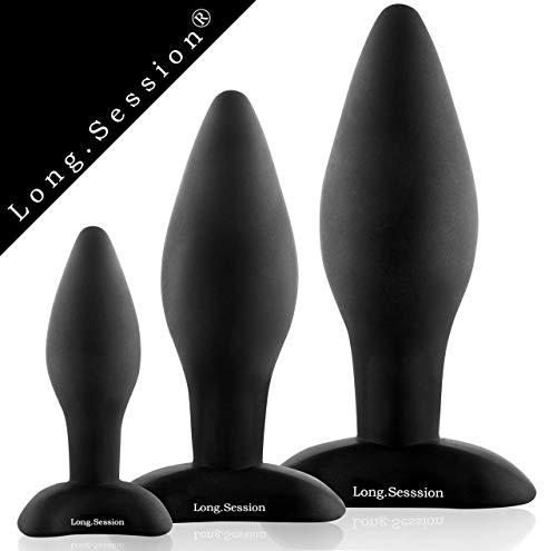 LONG.SESSION® Premium Analplug Set aus hautfreundlichem Silikon für Frauen und Männer in drei Größen...