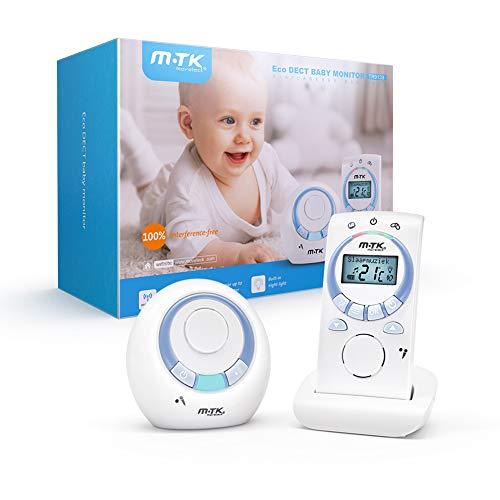 MTK Babyphone,Baby Audio Monitor DECT-Technologie Digital-drahtloser Babymonitor mit Wechselsprechfunktion,...