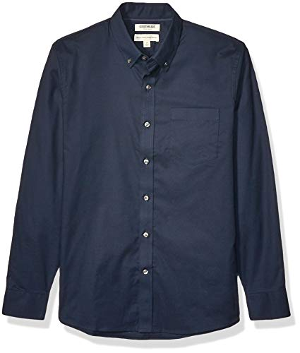 Goodthreads Standard-Fit Long-Sleeve Stretch Oxford (All Hours) button-down-shirts, Navy, Medium