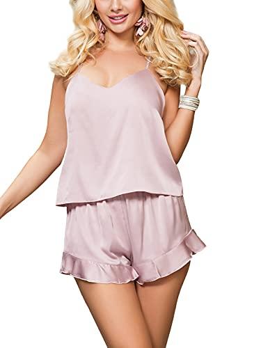 marysgift Schlafanzug für Damen Satin Nachtwäsche für Frauen Babydoll und Hose Reizwäsche Sleepwear...
