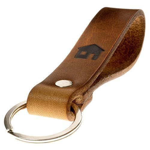 LIEBHARDT nachhaltig Geschenk aus pflanzlich gegerbtem Leder Schlüsselanhänger mit Spruch für deinen...