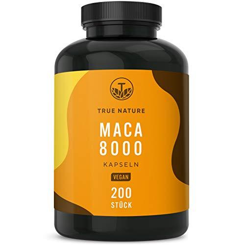 TRUE NATURE® Maca Gold 8000-200 Kapseln vegan - 8.000mg PRO Kapsel (400mg - 20:1 Maca Wurzel Extrakt) -...