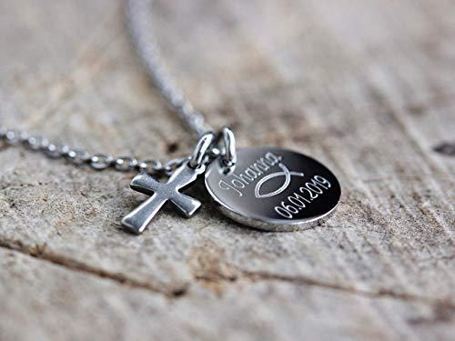 Taufkette, Kommunionkette, Kette für Kinder, Namenskette mit Gravur, Kette personalisiert, Kette Initialen,...