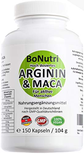 Maca 3600 mg & Arginin 3000 mg 150 vegane Kapseln Qualität aus Deutschland Ohne Magnesiumstearat Vegan...
