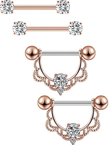 2 Paar Edelstahl Nippel Ring CZ Barbell Nippel Strass Ringe Nippel Zunge Piercing Schmuck (Rosa Gold Barren)