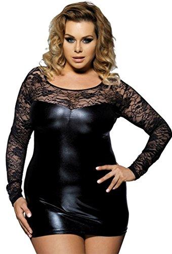 marysgift Damen Minikleid Wetlook Party-Dress Kunstleder Schwarz Latex Dessous große größen Schwarz 3XL 44...