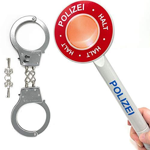 DDS Polizei Handschellen & Polizeikelle Kinder Set - Polizeiset Metall Handschellen und Kelle als Spielset |...
