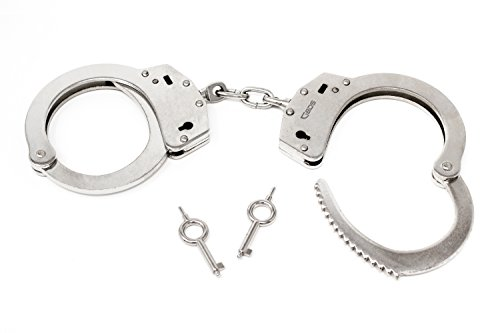 G8DS Hochwertige Handschellen vernickelte Stahlhandfessel mit Kette mit Double-Lock Sicherung