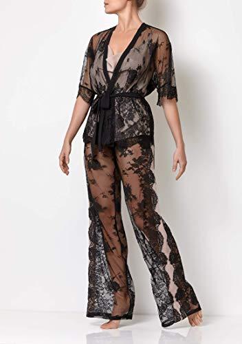 Millesime Luxus Pyjama Damen Lang Spitzen 3-teilige chlafanzug mit Palazzo Hose Lang Cami Top Spitzen Top...