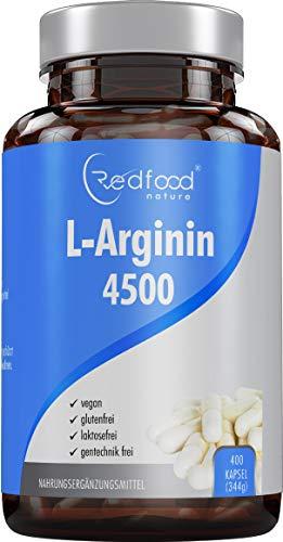 REDFOOD L- Arginin 4500 hochdosiert XXL Dose mit 400 Kapseln Made in Germany Hochdosiert ohne Zusatzstoffe