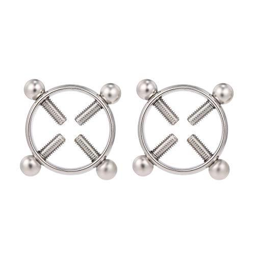 Festnight 1 Paar Nicht Piercing Einstellbare Nippel Ringe für Frauen Kreis Nippelklemmen Edelstahl Körper...