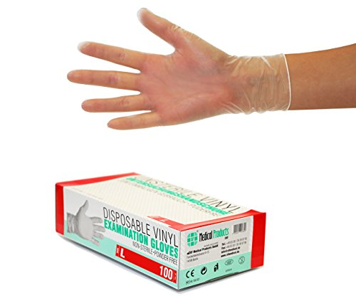 Vinylhandschuhe 1000 Stück 10 Boxen (L, Transparent) Einweghandschuhe, Einmalhandschuhe,...