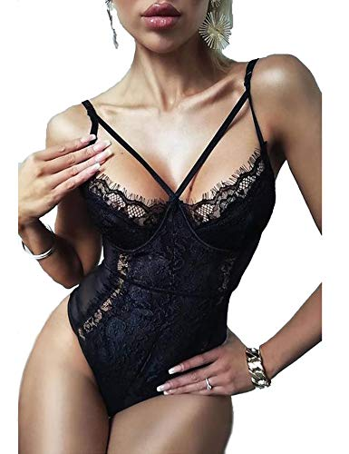 BESDEL Lace Bodysuit für Frauen Sexy Wimpern Snap Crotch Teddy Dessous Naughty Negligee Bodysuit Schwarz...