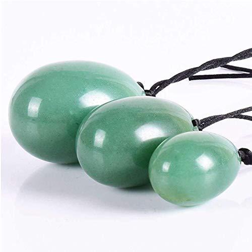 power Egg Nephrit Jade Obsidian Medium Egg Massage Stein 3PCS Natural Chakra Heilstein Yoga Übung Eier...
