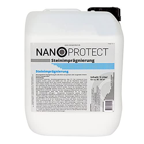 Nanoprotect Steinimprägnierung | Profi Qualität | Vorbeugend gegen Grünbelag und Einschmutzung | 5 L für...