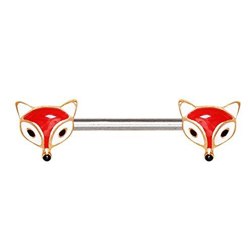 eeddoo® Fuchs NIPPEL STAB Rosegold - Brustpiercing mit Fuchsköpfchen für Brustwarzen Nipple Bar...