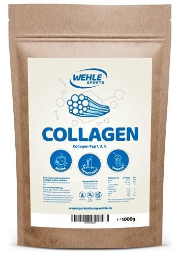 Collagen Pulver 1kg - Kollagen Hydrolysat Peptide - Eiweiß-Pulver Geschmacksneutral - Wehle Sports - Made in...