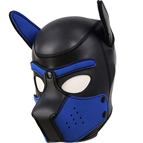 AmaMary Hundemaske,Weiche Latex Petplay Hundemaske mit Ohren Welpenmaske Hunde Masken für Cosplay Party...