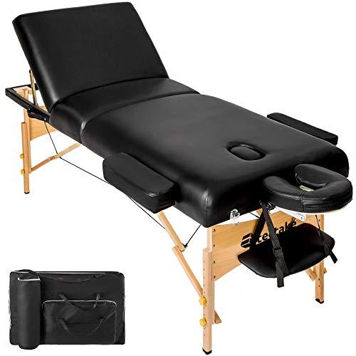 TecTake Massageliege mit 10cm reiner Polsterung + Tasche & Alukopfstütze - diverse Farben (Schwarz)