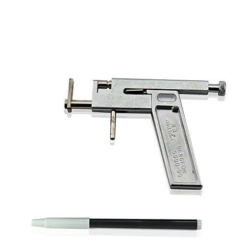 Vococal - Ohr Lippen Körper Nasenring Intimschmuck Tattoo Gun mit Marker Pen Kit Set - Metall-Pierce-Tool