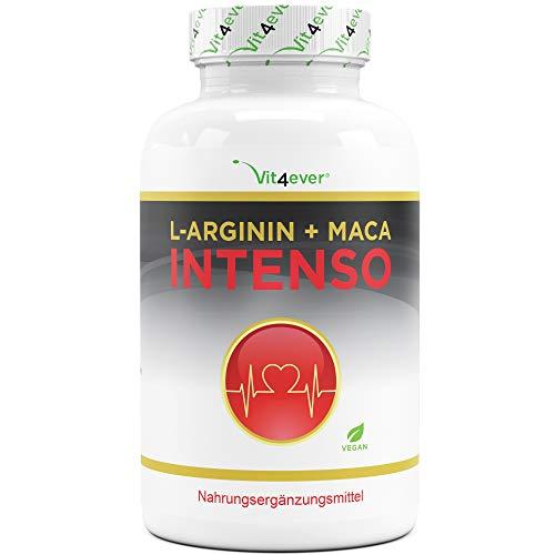 L-Arginin + Maca Intenso 240 Kapseln - Extra hochdosiert: 9800 mg je Tagesdosis - 2 Monatsvorrat - Pflanzliche...