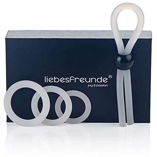 liebesfreunde® Cockring Set für Männer - Silikon Penisring Hodenring & Penisschlaufe - Sexspielzeug für...