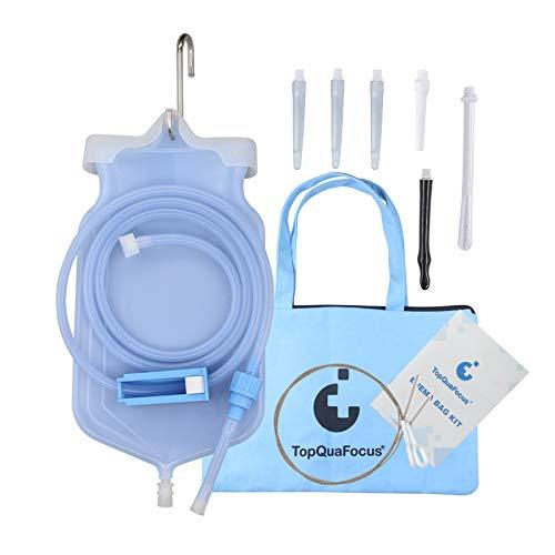 TopQuaFocus Klistier Set Einlauf Set Zur Darmreinigung(BPA- Und Phthalat Frei) Premium Reise Irrigator Set 2...